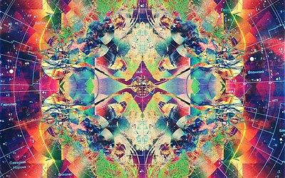 "Psychedelic Trippy Art	 Silk Cloth Poster 20 x 13"" Decor 21"