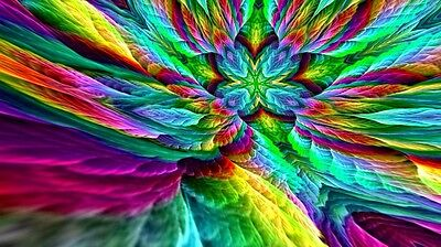 "Psychedelic Trippy Art  Silk Cloth Poster 24 x13"" Decor 50"