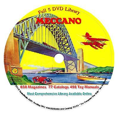 1225 Meccano Magazines Toy Manual Parts Catalogs Library 5 DVD Book Leaflet Kit