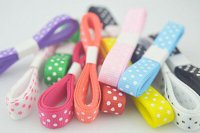 "NEW~5/10/100yds 3/8"" 10 MM Polka Dot Grosgrain Ribbon lot U pick"