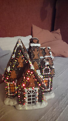 Gingerbread house - HAND MADE- lights flashing, plays - 300 lights - UNIQUE