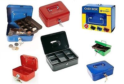 Steel Petty Cash Money Bank Metal Box Tin Safe Security 2 Keys Lock With Tray