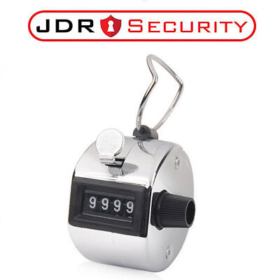 4 Digit Chrome Hand Held Tally Counter Clicker - Security, Doorman Golf