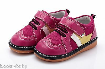 Girl's Infant Toddler Squeaky Shoes Hot Pink Brogue Style Real Leather Trainer