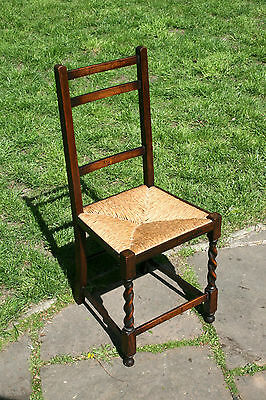 Vintage Solid Oak Wooden Bedroom Chair With Barley Twist Legs & Rush Woven Seat