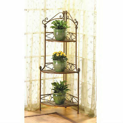 Rustic Scrollwork Corner Plant Stand or Kitchen Baker's Rack