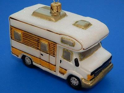 Motorhome Vacation Camper European Blown Glass Christmas Ornament
