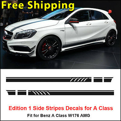 Edition 1 Style Side Stripe Sticker for Mercedes Benz A Class W176 AMG Black