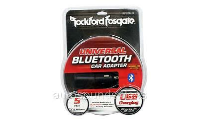 Rockford Fosgate RFBTAUX Universal Bluetooth Adapter To AUX Input USB Charger