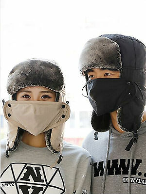 a90588d060f Unisex Winter Waterproof Faux Fur Lined Trapper Trooper Earflap Ski Hat W  Mask