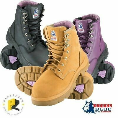 Steel Blue Argyle Ladies Safety Toe Cap Work Boots 512702 Purple Wheat Black