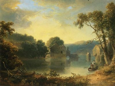 Nice oil painting Thomas_Doughty_Ruins_in_a_Landscape sunset with figures canvas