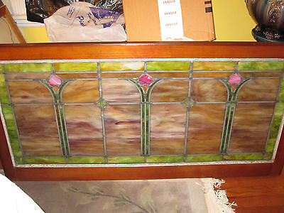 Antique Original Stained Glass Transom Window Pink