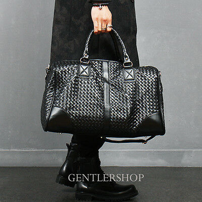 Men's Fashion Black Weave Pattern Faux Leather Travel Duffel Bag, GENTLERSHOP