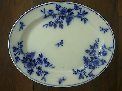 ANTIQUE VICTORIAN ASHWORTH POTTERY FLOW BLUE & WHITE LARGE 17in MEAT PLATE