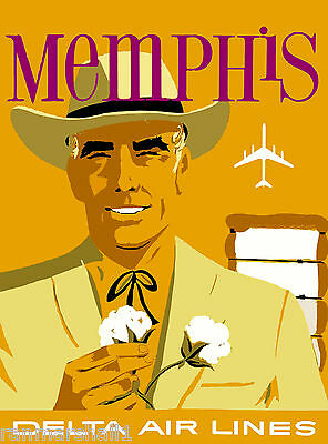 Memphis Tennessee by Air United States America Travel Advertisement Poster