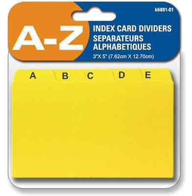 """Index Card Dividers A - Z, 3 X 5"""" , Seperate Cards For Each Alphabet"""