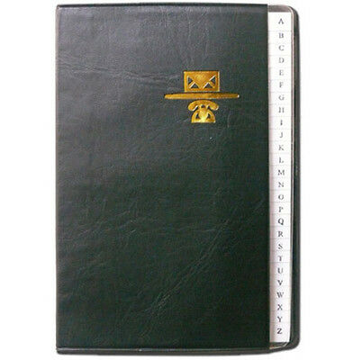 """Personal Phone and Address Book - Black Leather Binder - Size 4 x 6"""""""