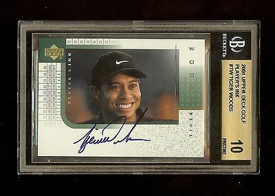 2001 Tiger Woods Ud Players Ink Auto Rookie Rc #tw Bgs 10/10 Pristine