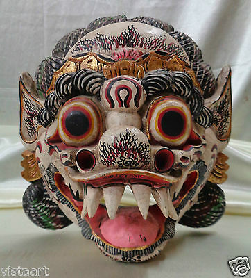 1917 SGD Antique Wooden Carved Balinese Mask w.Elaborate Painted Designs 10x9x6""