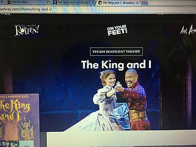 Two tickets to King and I on Broadway in New York City