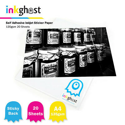 A4 High Gloss Self Adhesive Sticker Paper / 135gsm / 20 sheets / Inkjet Printers