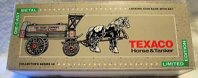 Texaco Die Cast Metal Horse And Tanker Bank With Key.
