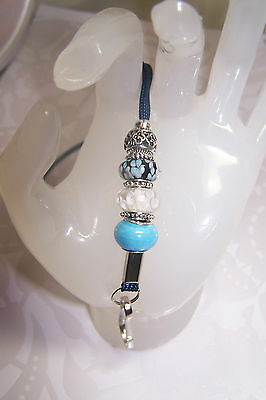 Blue With White Flowers Murano and Blue Ceramic Beaded Lanyard / ID Badge