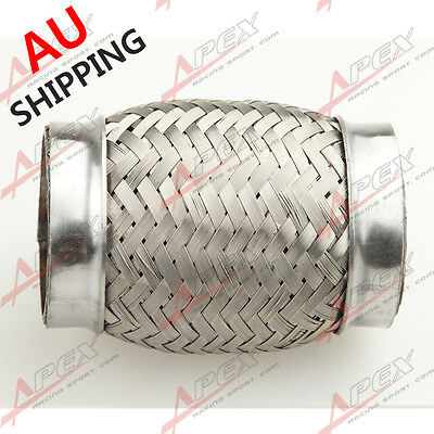 "2""(51mm) ID  Exhaust Flex Pipe 4"" Length Stainless Steel coupling Interlock  AU"