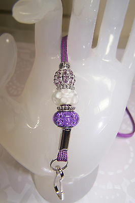 White Flowers Murano & Purple Rhinestone Beaded Jewellery Lanyard / ID Badge
