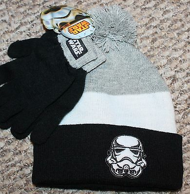 New! Boys STAR WARS Gloves and Hat Set (White/Gr/Black) - One Size Youth 4-5-6-7