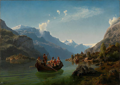 Oil Bridal Procession on the Hardangerfjord, by Adolph Tidemand and Hans Gude
