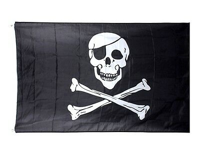 FD3237 Pirate Skull Crossbones Cross Bones Jolly Roger Banner Flag Eyelet ~Large