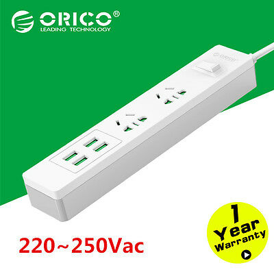 ORICO Home Office 2 way Sockets Outlets Surge Protector With 4 USB Power Strip