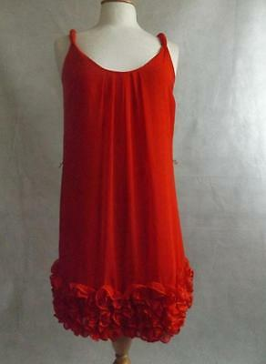 Ladies Red Vintage Babydoll Dress Frilled Size 8 S Red Herring Retro Neglige