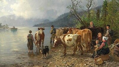 Beautiful Oil painting villagers with animals cows cattles by river landscape @@