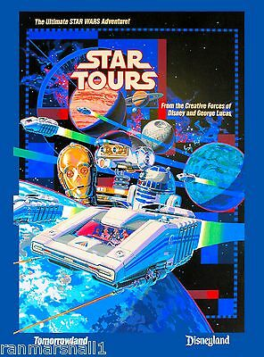 Anaheim California Disney Star Tours United States Travel Advertisement Poster 2