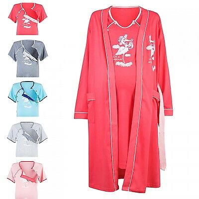 Happy Mama Women's Maternity Hospital Gown Robe Nightie Set Labour & Birth. 126p