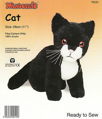 CAT CUDDLY TOY MAKING KIT By MINICRAFT - Ready to Sew BLACK & WHITE CAT SOFT TOY