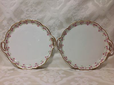 1920-1932 Beautiful Match Pair Elite Limoges Rnd Handle Serve Trays; Perfect
