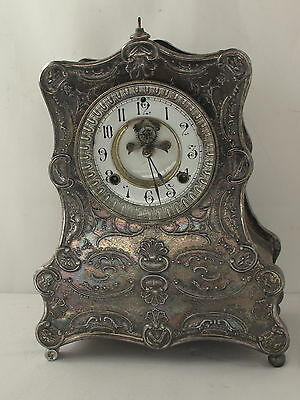 Antique Ornate Silver Plate Waterbury Mantle Clock Pat. 1881 RARE!