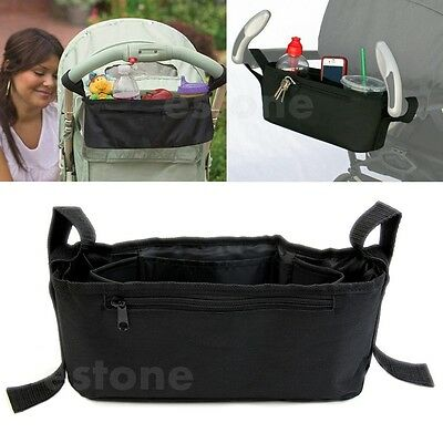 Baby Stroller Storage Bag Parent Tray Console Organizer Drink Cup Holder Phone