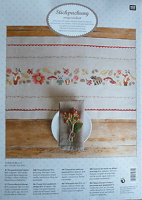 RICO Stencilled Forest Animals TABLE RUNNER EMBROIDERY KIT 40 x 150cm 15% Linen
