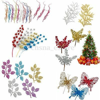 Christmas Xmas Glitter Hollow Leaves Butterfly Craft Wreath Decoration Ornaments
