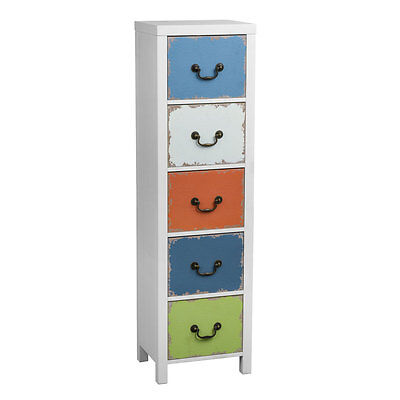Alchemy White Wood Tall Storage Chest 5 Multi Coloured Aged Looked Drawers