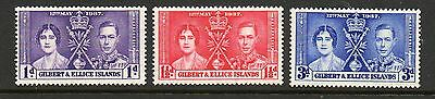 Gilbert & Ellice Islands 1937 Coronation lightly mounted mint set stamps