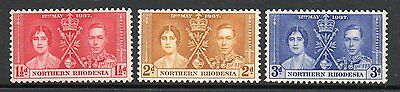 Northern Rhodesia 1937 Coronation lightly mounted mint set stamps