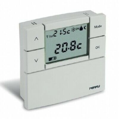 Perry Electric 1Tpte530B Termostato Digitale Lcd Zefiro Da Parete Bianco