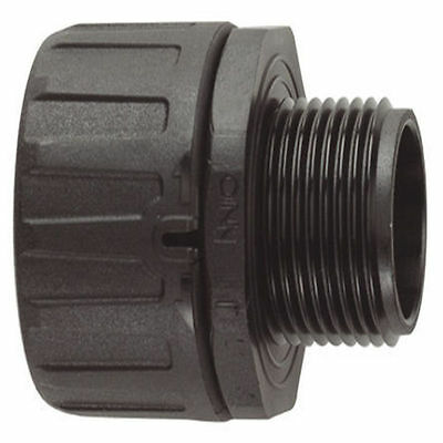Flexicon Straight Cable Conduit Fitting, Nylon Black 42mm - IP66 M40 (2 pack)