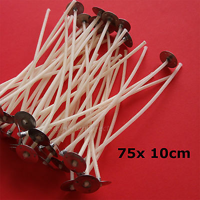 75 Pcs Pre Waxed Wicks with Tab 100 mm/ 10cm long for Candle Making High Quality